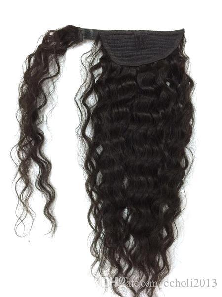 100% capelli umani coulisse coda di cavallo profonda onda ricci parrucca reale estensione dei capelli umani coda di cavallo per black women100g120g140g