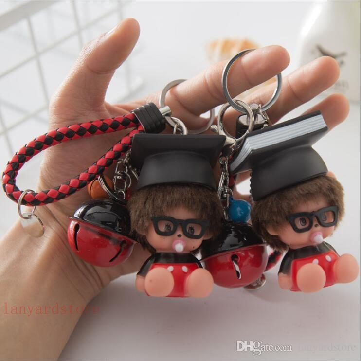 100Pcs/lot Creative lovable monkie knitting cord key chain gel doll bell pendant pendant men's and women's car bag ornaments