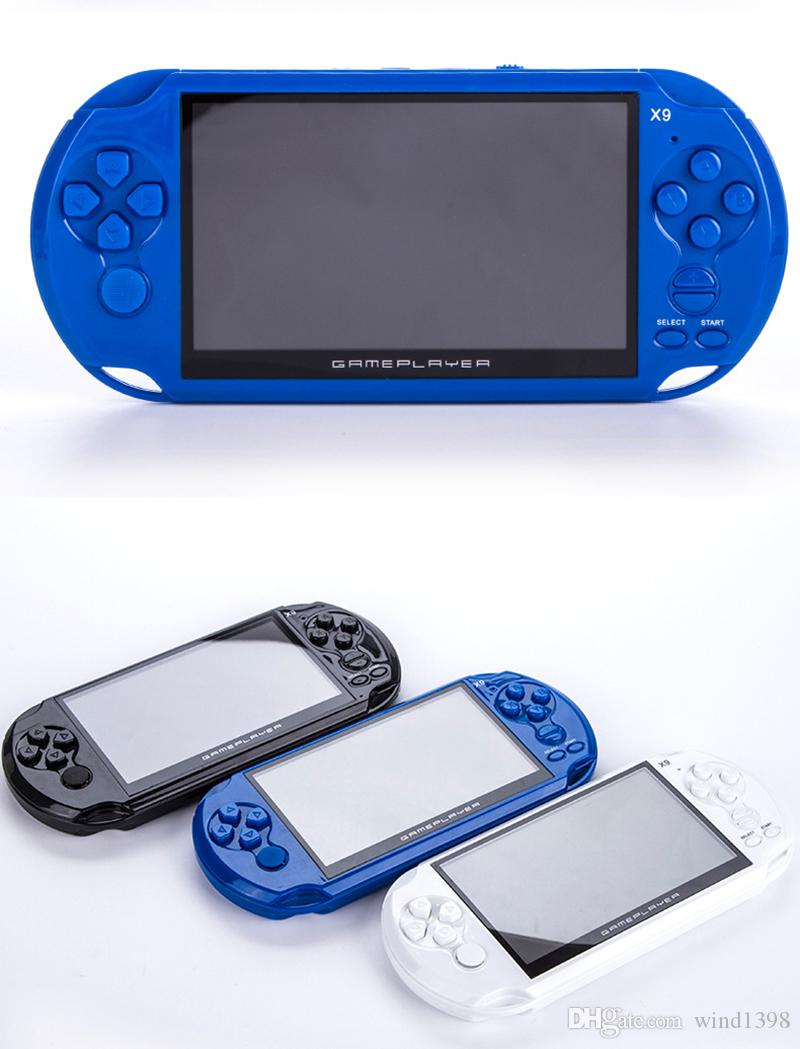 Haute Qualité 5,0 pouces Écran de 5,0 pouces 8GB 16 Go Jeux de poche de poche Joueur X9 Support TV avec caméras MP3 Caméra Jeux d'enfants