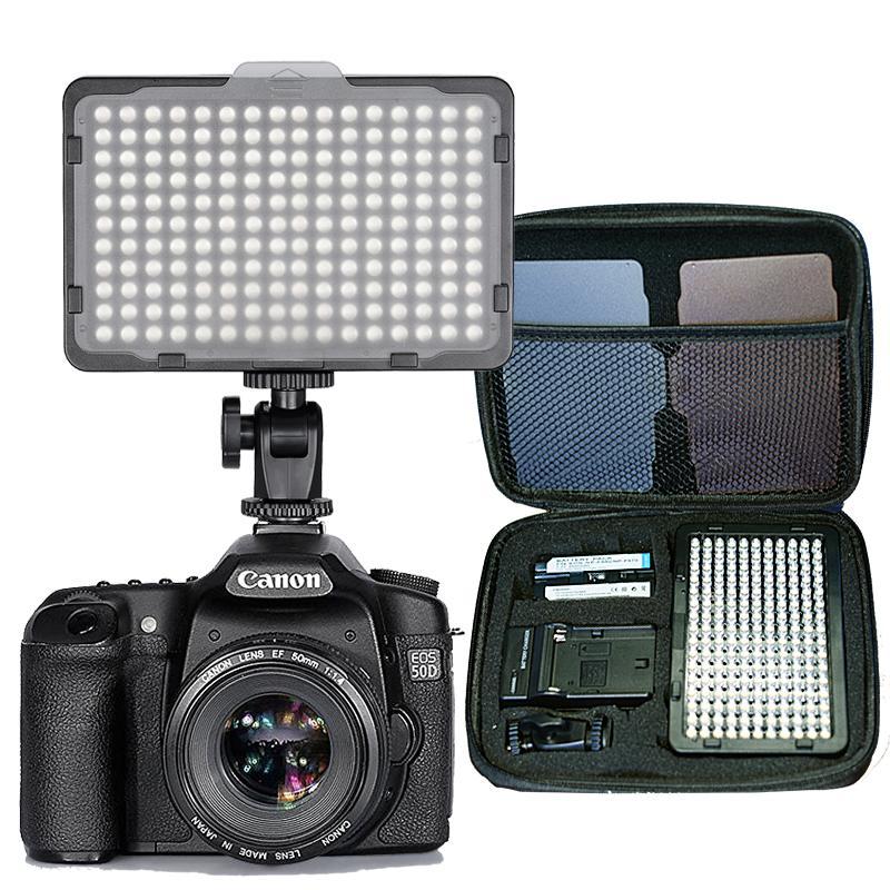 176 pcs LED Luz para Câmera DSLR Filmadora Luz Contínua, Bateria e Carregador USB, Carry Case Fotografia Photo Video Studio