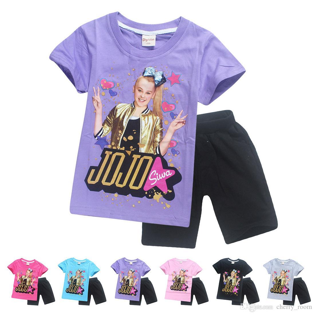 Jojo Siwa Children Shorts Outfits 2018 New Cartoon Short Sleeves Jojo Inspired Kids Clothing Sets Fashion Summer Girl Clothes C3911