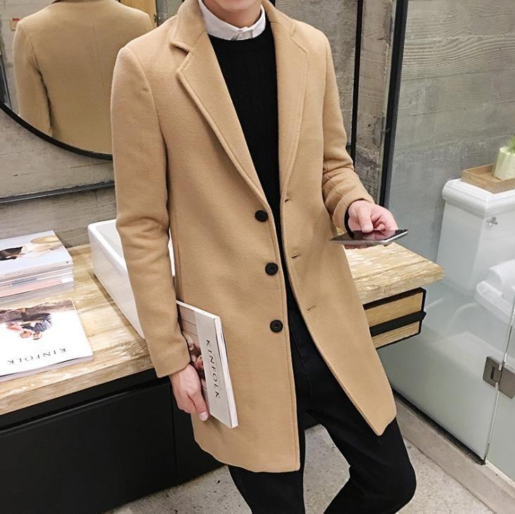 Men Khaki Blue Long Length Coats Fashion Wool Blend Slim Fit Parkas Man Winter Lapel Neck Coats
