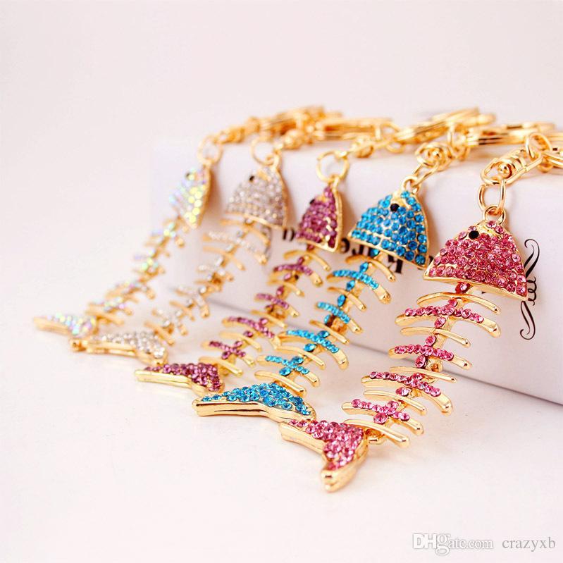 Fish Bones Keychain Car Keyring Cute Rhinestone Crystal Charm Pendant Key Bag Chain Gift New Fashion Free Shipping
