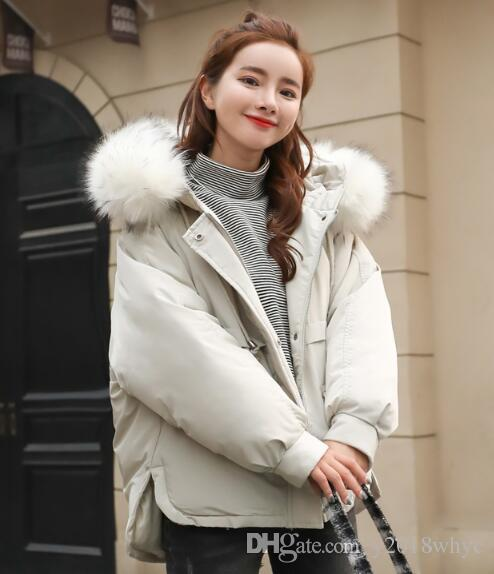 2018 Winter clothing new women's short student bread hooded fur collar cotton jacket coat Parkas Outerwear