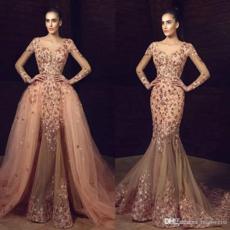 Tony Chaaya 2019 Mermaid Overskirts Prom Dresses Long Sleeves Flower Embroidery Beaded Evening Gowns Sexy Plus Size Formal Dress