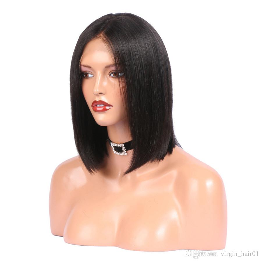 Side Part Bob Wig Brazilian Virgin Human Hair Silky Straight Middle Part Front Lace Wig Glueless Full Lace Wig For Black Women
