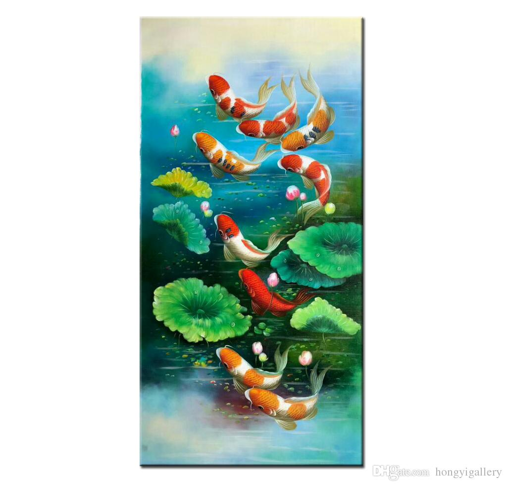 China wind Koi Art Wall Art Feng Shui Fish Oil Painting 100% Hand Painted Animal Modern Canvas Living Room Bedroom Home Decoration AFS015