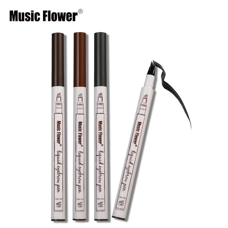 Sıcak Satış Müzik Çiçek Sıvı Kaş Kalem Müzik Çiçek Kaş Artırıcı 3 Renkler Çift Kafa Kaş Artırıcı Su Geçirmez DHL Ücretsiz