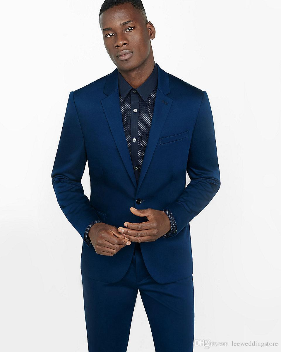 Costumes pour hommes Costumes de mariage sur mesure Bleu marine Slim Fit Meilleur homme Business Prom Tailed Tuxedos 2 pièces Terno Blazer Masculino (veste + pantalon)