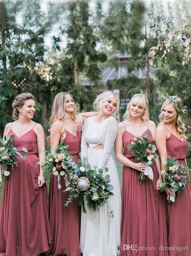 best service unbeatable price choose latest Dusty Rose Bridesmaid Dresses 2019 Spaghetti Chiffon Backless Wedding  Dresses For Guests Beach Garden Bridal Dress Baby Blue Bridesmaid Dresses  ...