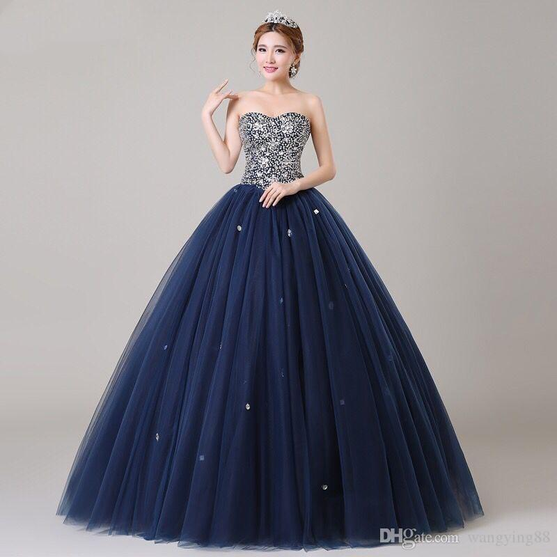 ANGEL NOVIAS Long Ball Gown Puffy Plus Size Navy Blue Crystal Prom Dress  2018 Pictures Of Prom Dresses Plus Size Prom From Wangying88, $70.36| ...