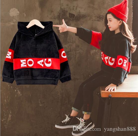 Modelli esplosivi ragazze più velluto autunno e inverno maglione per bambini grandi bambini delle donne versione coreana della giacca invernale testa con cappuccio