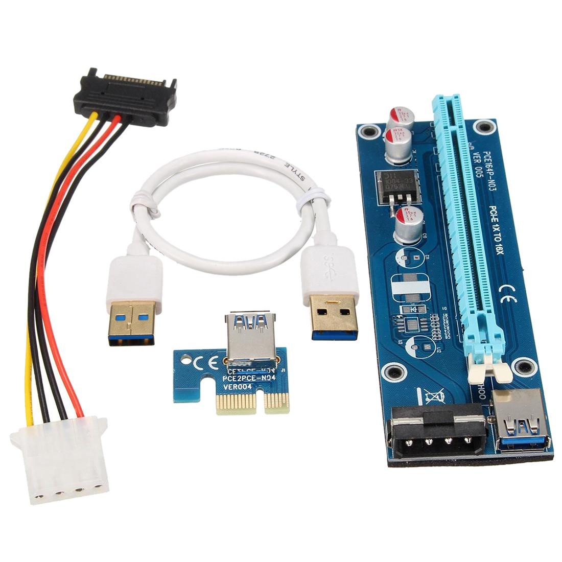 Freeshipping USB 3.0 PCI-E Express 1x to 16x Riser Board Extender Card Adapter with SATA Cable