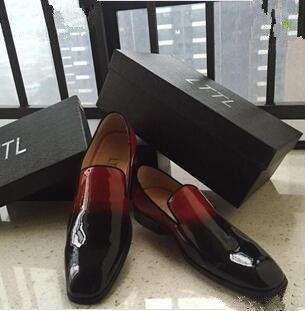 Rojo Bottoms Dandelion Flats negro rojo charol zapatos de vestir Flats alta calidad Chaussure Femme Mens zapatos vestido mocasines zapatos talla 46