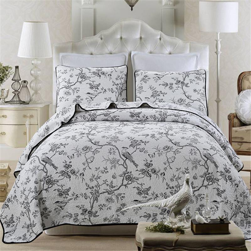 Amerikan Çiçek Kuşlar Yatak Örtüsü Patchwork bedsprei Örtüsü Yorgan 3 adet Yatak seti Cubrecamas Kapitone Bedcover Yastık