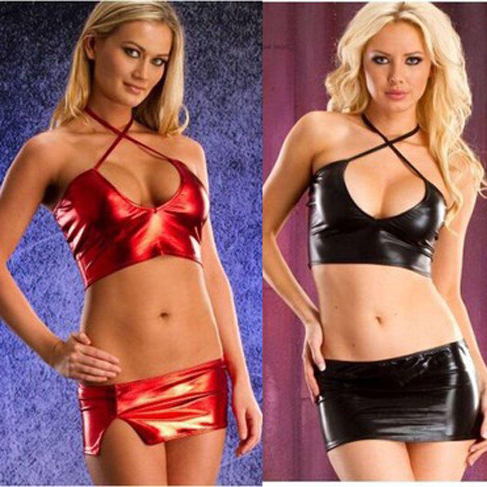 Las últimas damas lencería sexy escenario Pole Dance Sexy Split Calado Tentación de cuero de patente de tres puntos traje de falda
