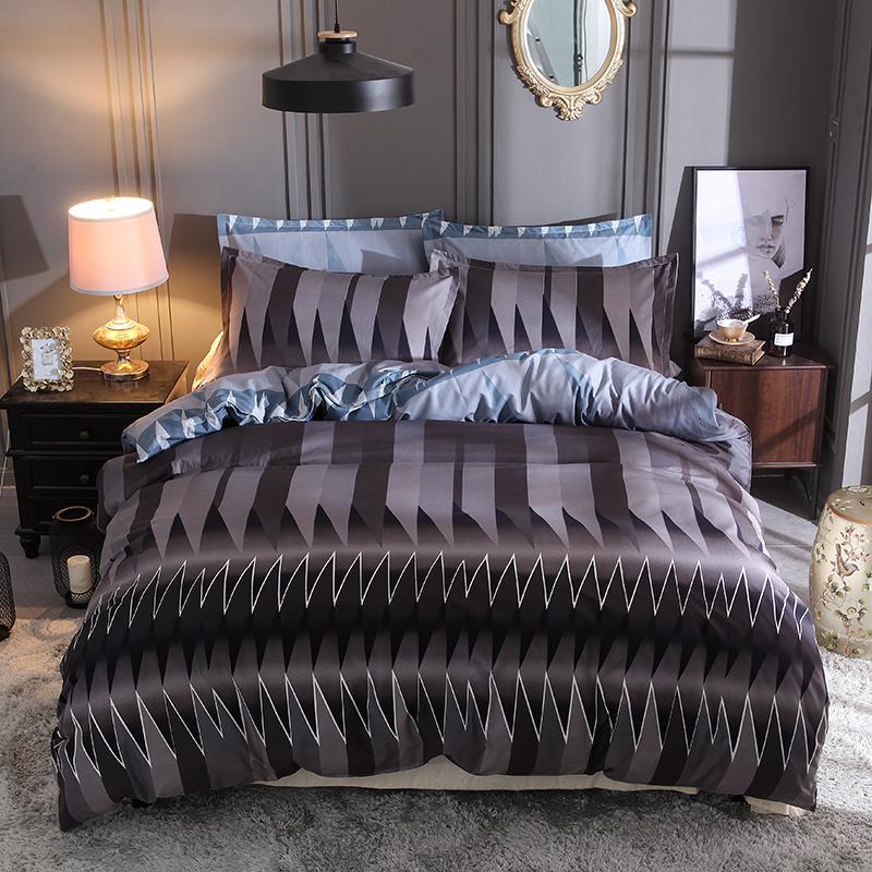 Striped Duvet Cover Pillow Cases Single Double Queen King Super King Size 3D Bedding Set Bed Lines Bedclothes 3pcs Home Textile