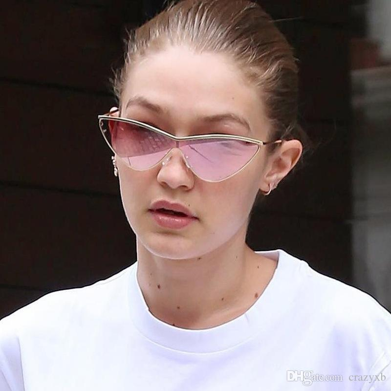 Gradient UV400 Siamese Cat Eye Sunglasses Vintage Fashion Triangle Alloy Frame Sun Glasses Eyewear Lens hot sale