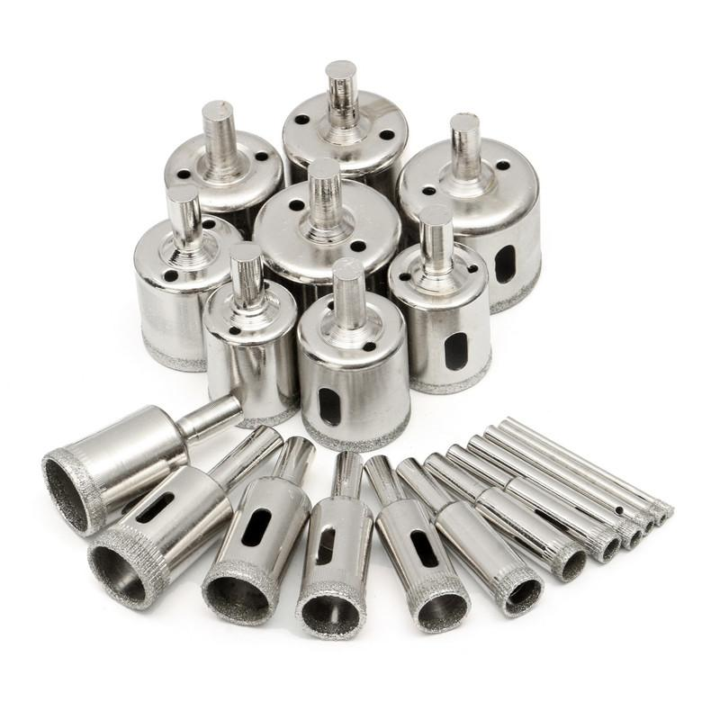 Freeshipping 20Pcs/lot 3-40mm Diamond Coated Hole Saw Drill Bits Tool for Ceramic Porcelain Glass Marble Cutting Glass Marble Set