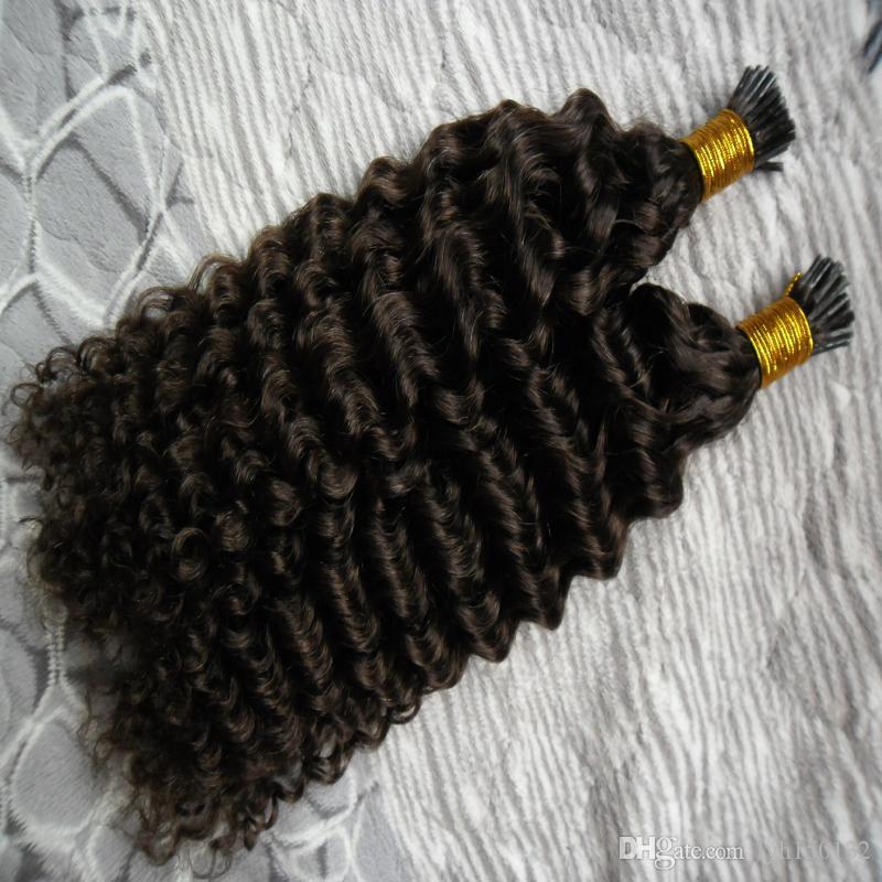 """10""""-26"""" Виргинские бразильские кудрявый вьющиеся Фьюжн человеческих волос расширения 100s я Совет наращивание волос человека 100g капсулы наращивание волос"""