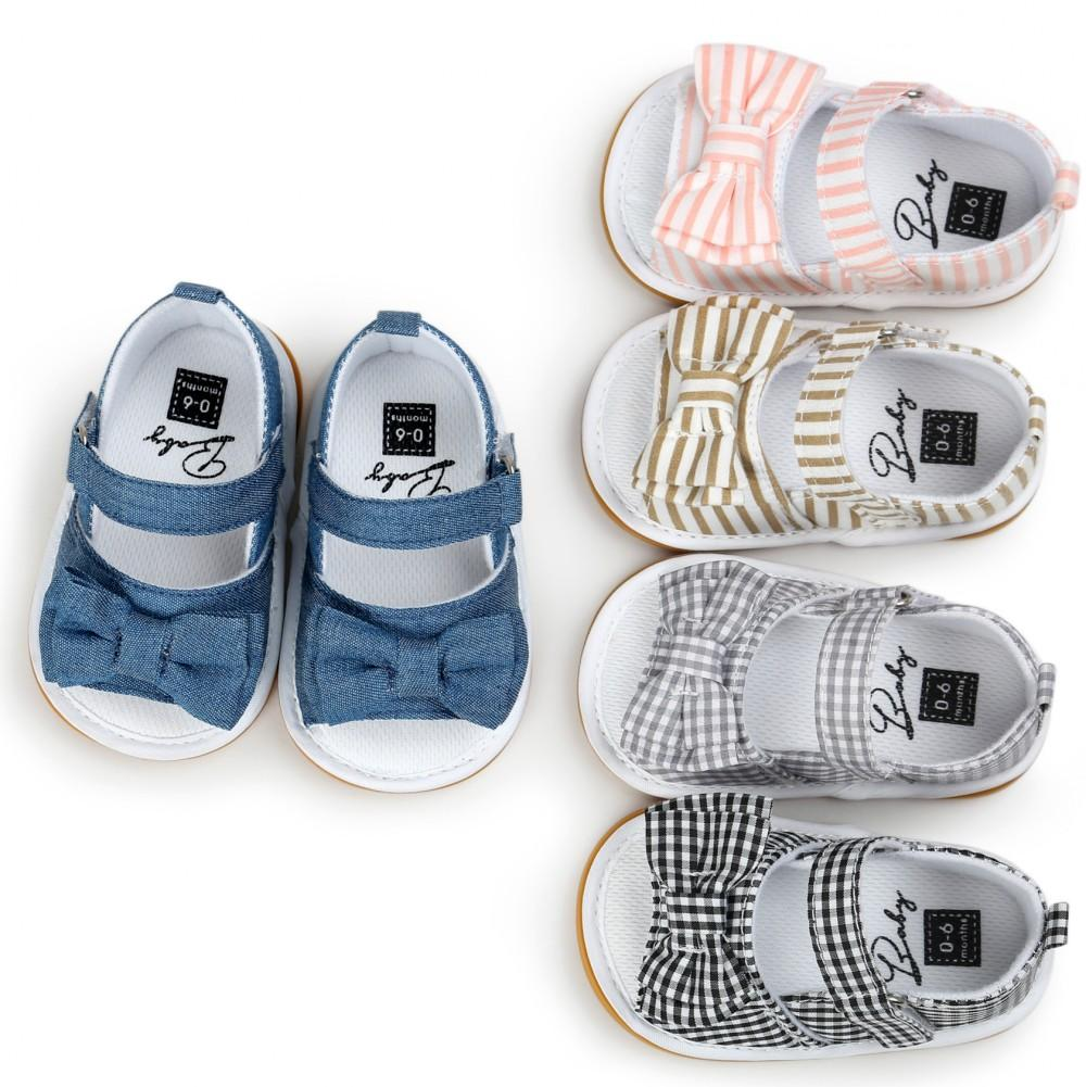 Fashion Plaid Striped Girls Baby Sandals Fish Mouth Summer Baby Toddler Shoes Rubber Sole Infant Sandals