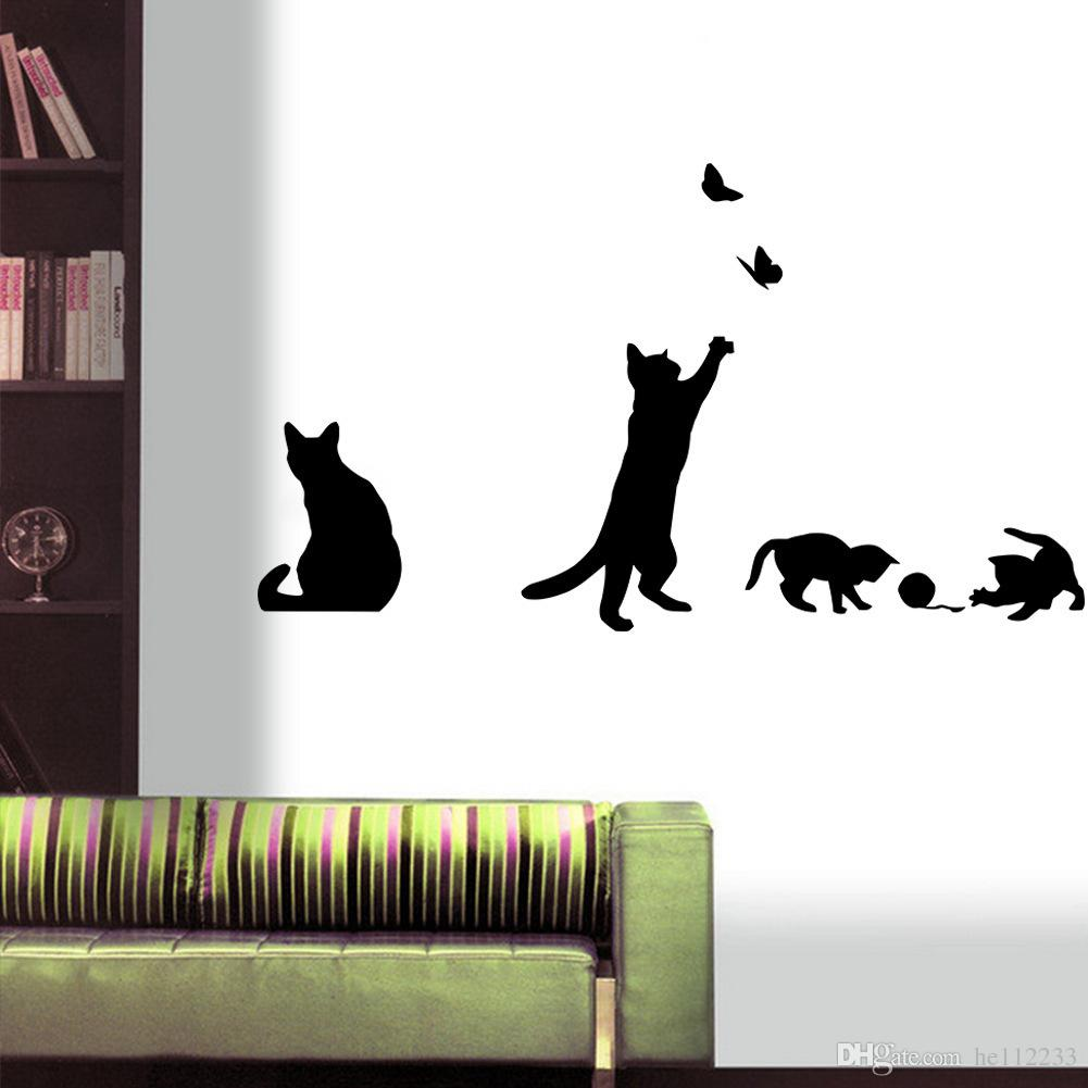 Brand New Cartoon Cat Wallpapers Waterproof Can Be Removed Bedroom