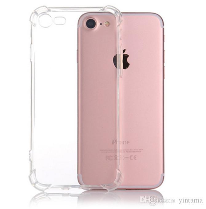 Pour iPhone 11promax X XS MAX XR et Samsung s20p Crystal Clear TPU cas d'absorption de choc souple panneau transparent couverture arrière navire libre