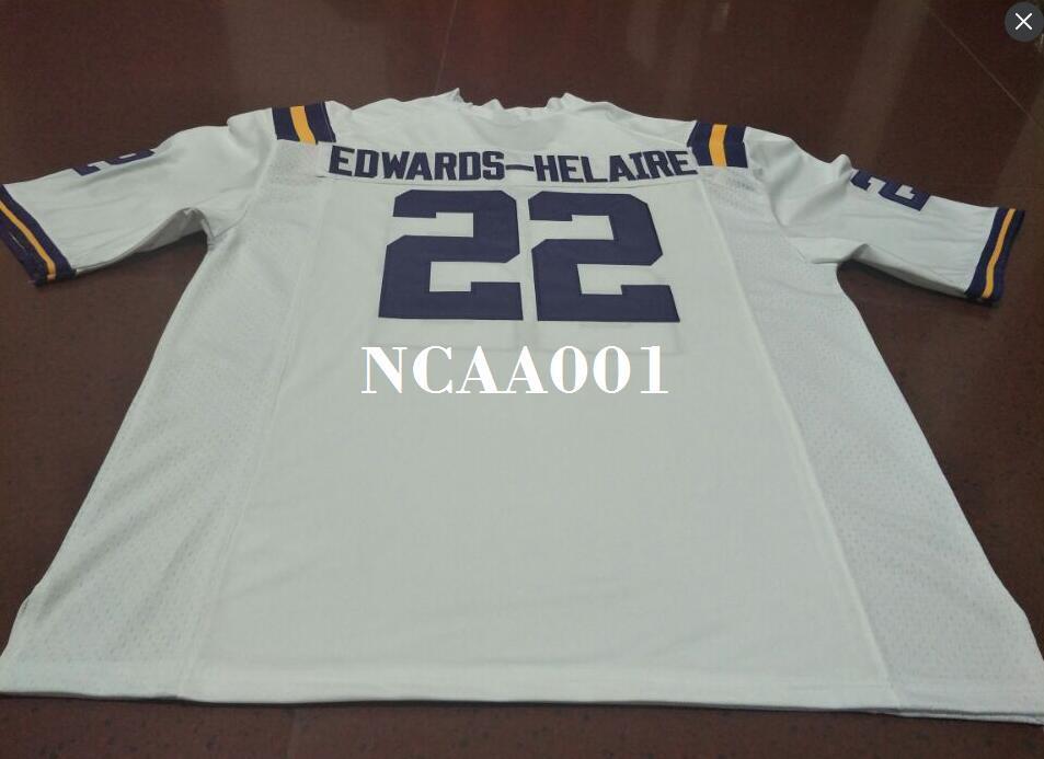 uomini # 22 Viola Bianco Clyde Edwards-Helaire LSU Tigers Alumni College Jersey o personalizzato qualsiasi nome o numero maglia