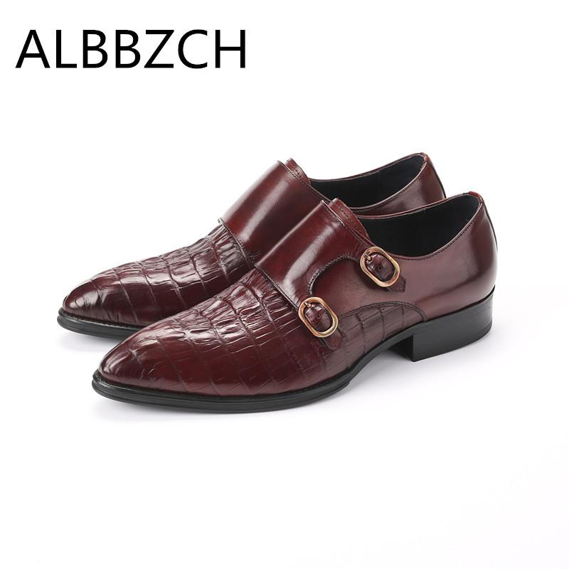 New men's pointed toe genuine leather dress shoes men derby wedding shoes fashion buckle design high grade office work men