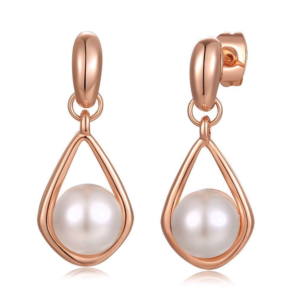 (567E) гладкие круглые жемчужные серьги для элегантных женщин ювелирные изделия розовое / белое золото покрытием