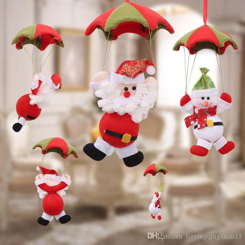 Hanging Christmas Decorations Ceiling.Christmas Home Ceiling Decorations Parachute 24cm Santa Claus Snowman New Year Hanging Pendant Christmas Decoration Supplies Decorating Christmas