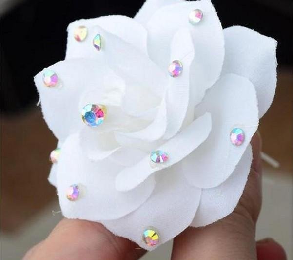 SHUANGR Wedding Bridal Hairpin White Rose Flower Crystal Rhinestone Hair Pin Beauty Hair Clip Women Accessory Jewelry