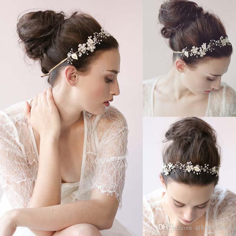 Moda Abiti da sposa a buon mercato 2019 Bridal Hair Band Perle Accessori per capelli di cristallo Accessori da sposa Bridal Wedding Hand Made Capelli Tiaras