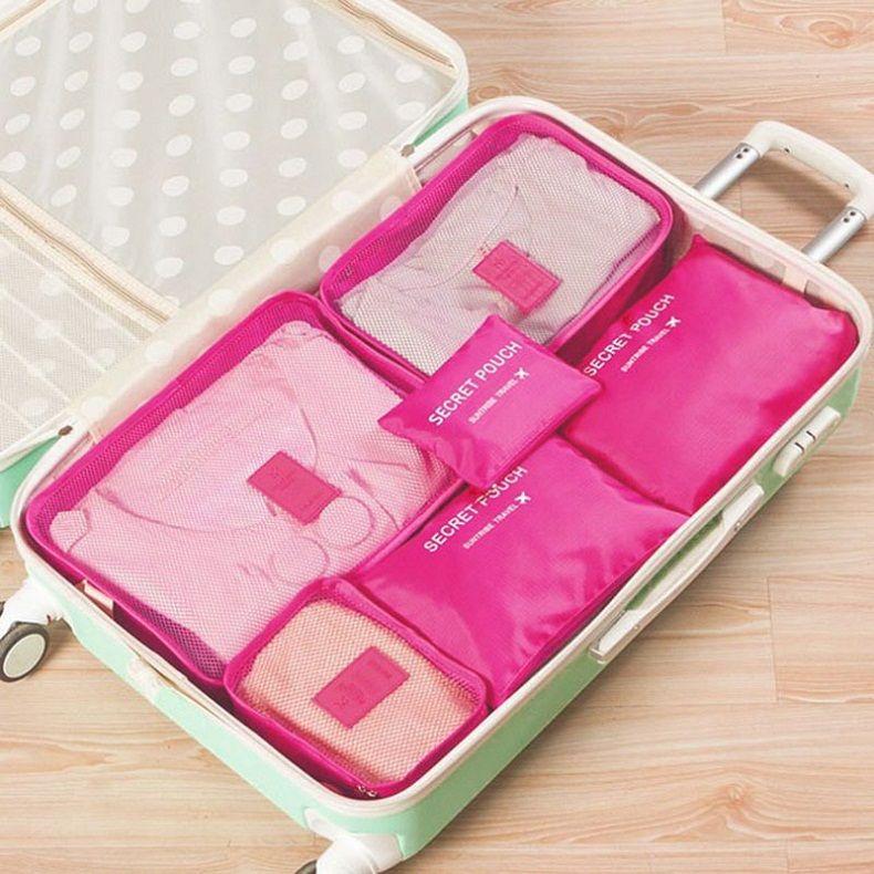 Storage Bags 6pcs /1set Travel Waterproof Storage Bag Clothes Underwear Bra Packing Cube Luggage Organizer Closet Divider Container