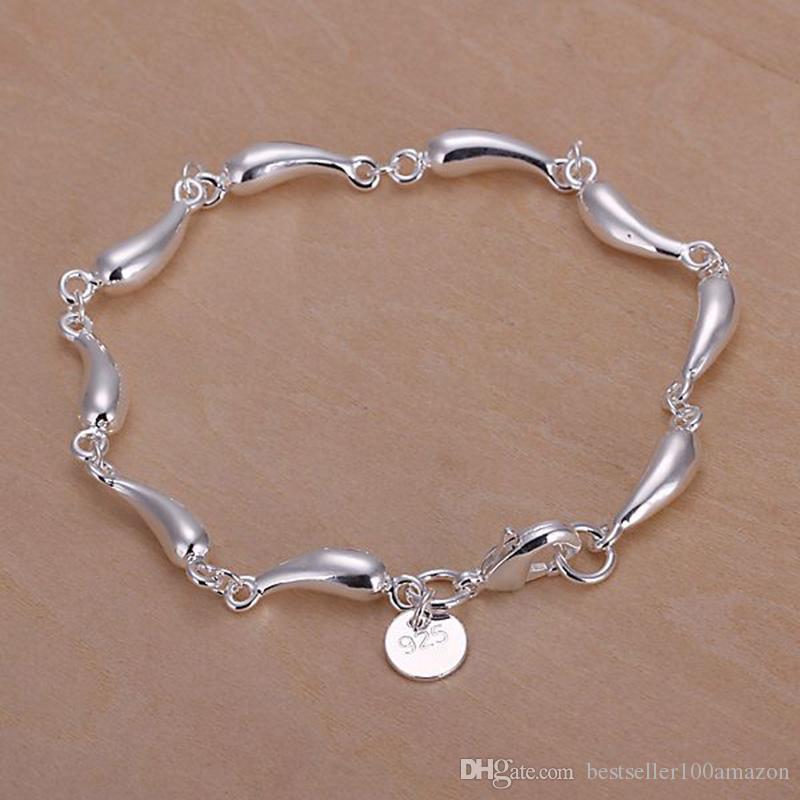 Fino 925 Pulseira De Prata Esterlina, 2018 Novo Estilo 925 Ligação De Prata Itália gotas de Água bracele Para Mulheres Homens Moda Jóias Hot vender SH209