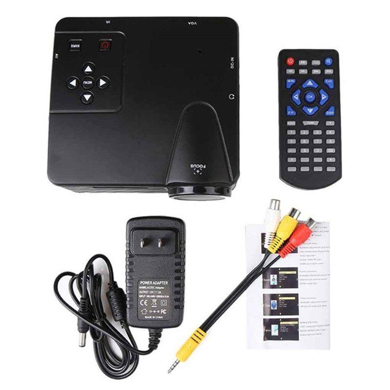 Mini Digital LED Projector 1080P HD Movie Video Portable Projector Home Theater Cinema Multimedia Player Support AV/VGA/TV/USB/HDMI Input