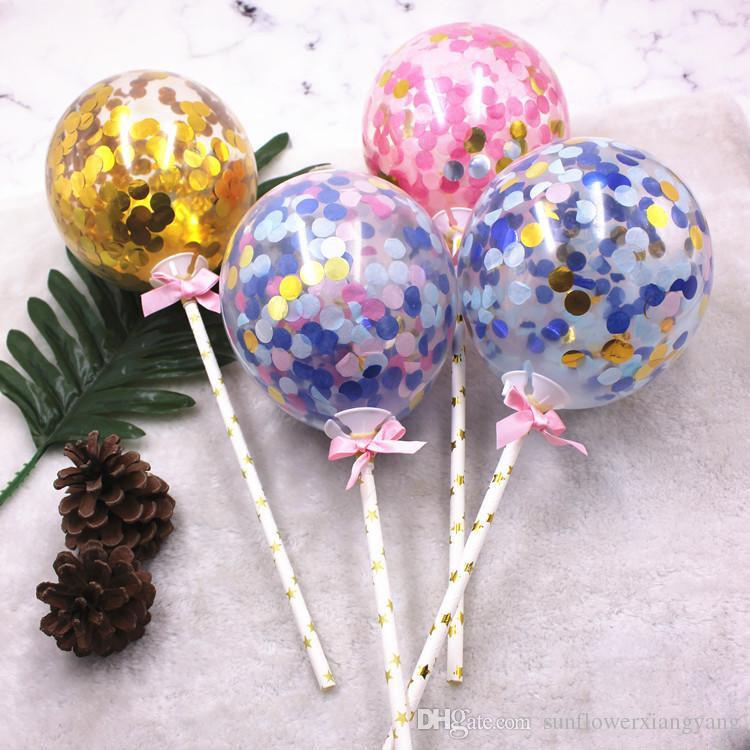 5 Polegada Brilhante Confetti Balões Bolo Topper Cupcake Topper Decoração de Festa Rosa Azul Arco-Íris Dourado