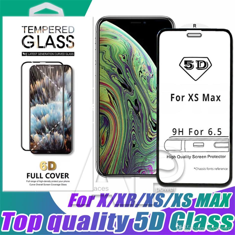 5D vidro temperado curvado para iphone 12 mini 11 xs xs max x 8 plus protetor de tela 9h full capa 9h com pacote