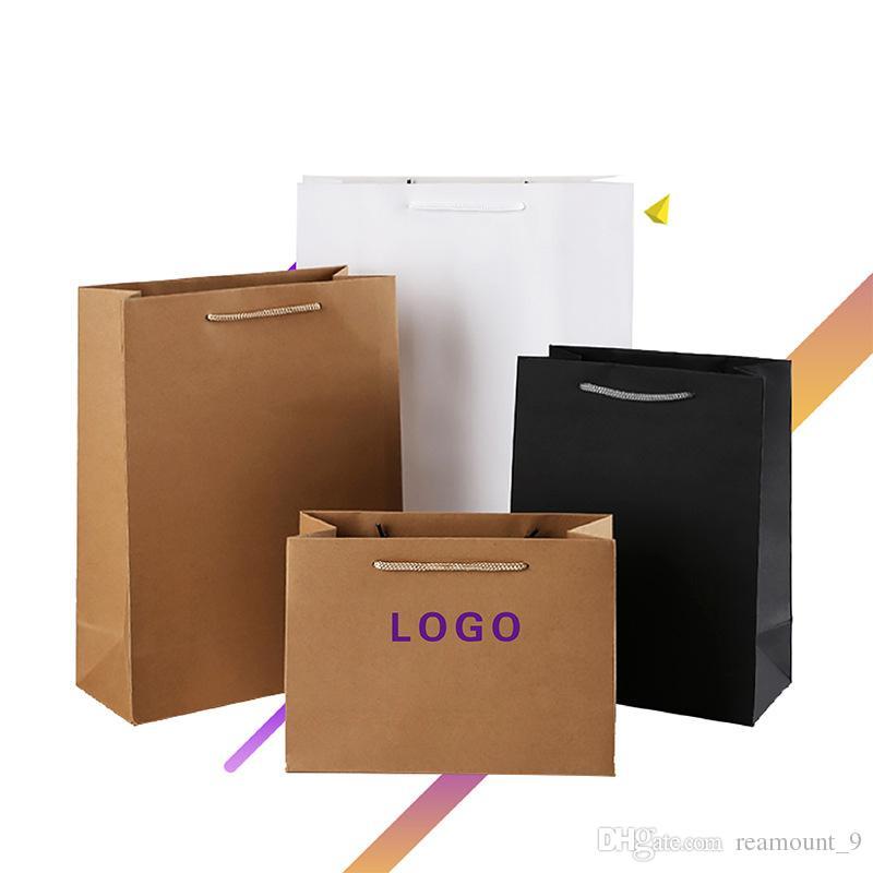 50 pcs Atacado personalizado papel kraft saco de compras para o telefone Caso DIY Impresso reutilizável Dobrável Saco de papel de acessórios para telefones