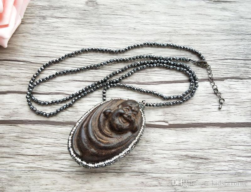 4 개 적철광 구슬 체인 목걸이, 나무 Maitreya 부처님 머리 펜던트 보석 목걸이 NK303