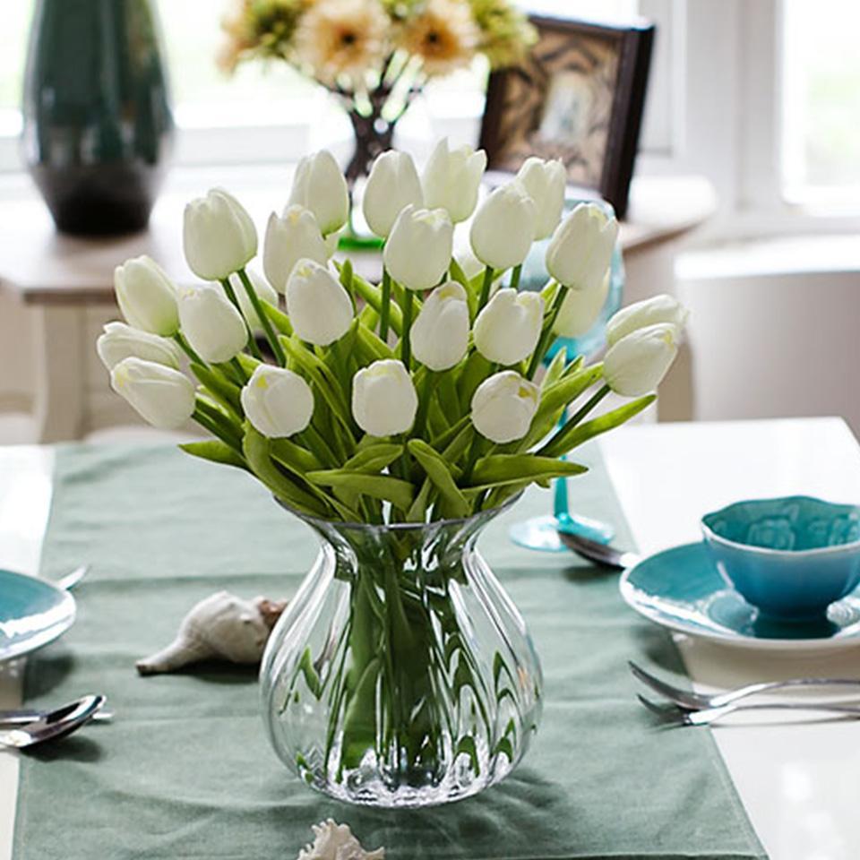 1 stück PU Tulip Künstliche Blumen Mini Tulip Blume Real Touch Hochzeit 10 Farben Gefälschte Blumen Tulpen Für Heimtextilien