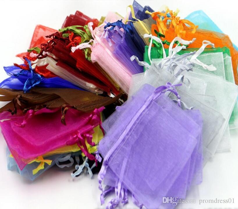 100 Adet / grup Organze Takı Hediye Kılıfı Çanta Düğün iyilik Için, boncuk, takı çantası Şeker çanta paketi çanta mix renk Favor Tutucular