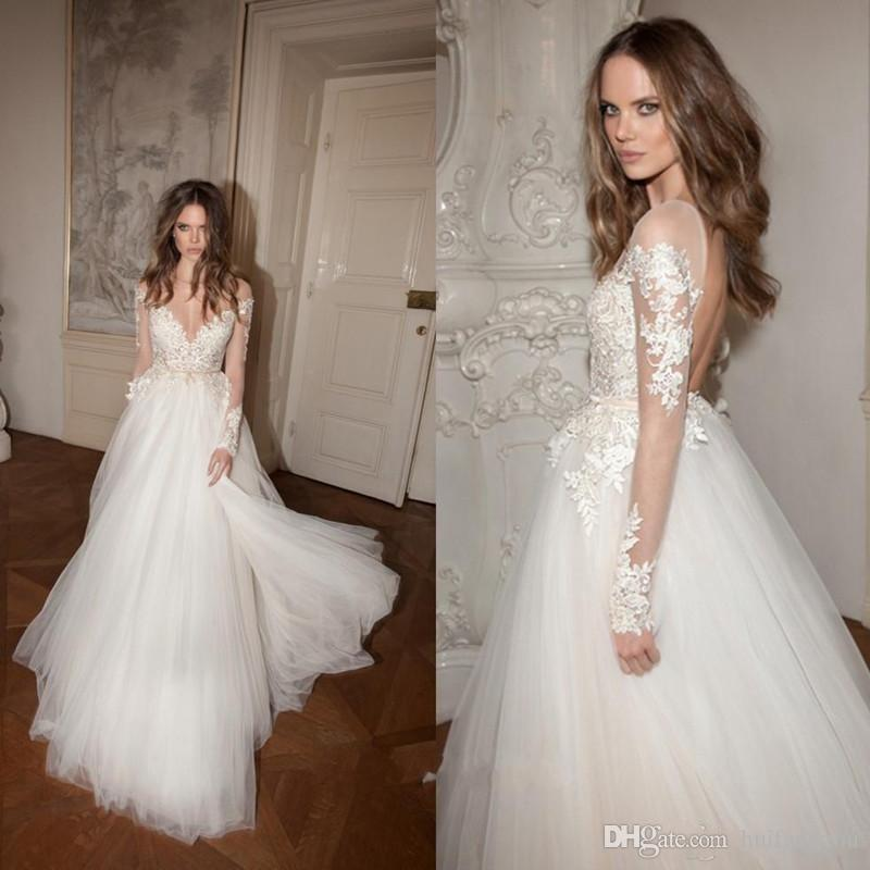Princess A Line Applique Bohemain Wedding Dresses With Illusion Long Sleeves Sexy Backless Berta Bridal Gowns Wedding Dress