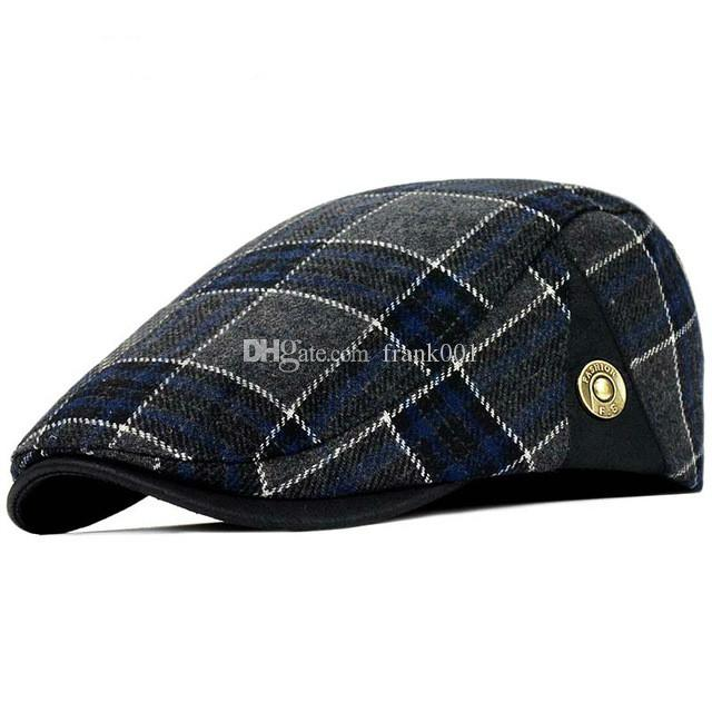 높은 품질 복고풍 성인 베레모 남성 양모 격자 무늬 cabbie Flatcap 모자 여성용 모자 무료 배송