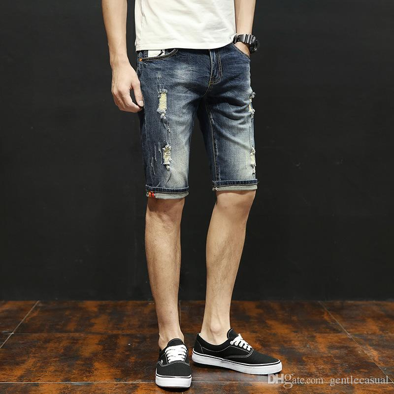 a6638a734e ... Summer Men Jean Shorts Half Knee Length Ripped Draped Holes Elastic  Shorts Washed Vintage Jeans ...