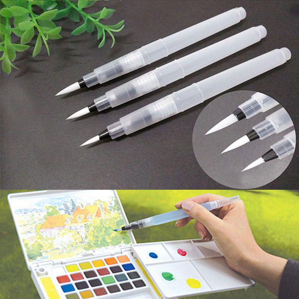 3Pcs/set S/M/L Large Capacity Water Brush Soft Watercolor Art Paint Brush Nylon Hair Painting For Calligraphy Pen