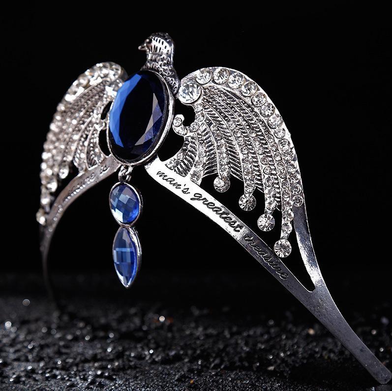 Moda Vintage Prata Ravenclaw diadema Azul De Cristal Faculdade Ravenclaw Perdido Coroa Prom Jóia Do Cabelo Do Casamento Jarry Potter Horcrux