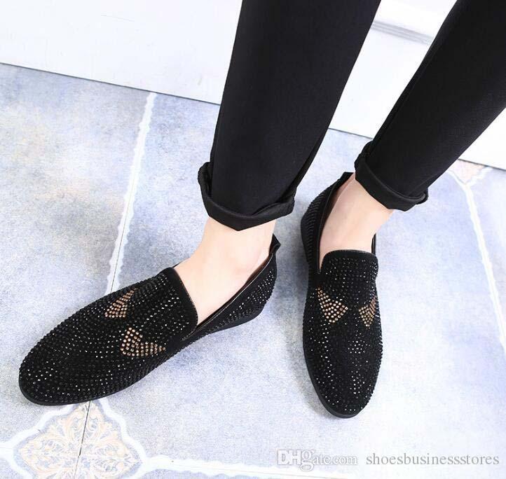 Дизайнер мужчины блеск монстр горный хрусталь указал обувь бездельник для мужчин Homecom платья свадебные туфли мокасины жених обувь 467