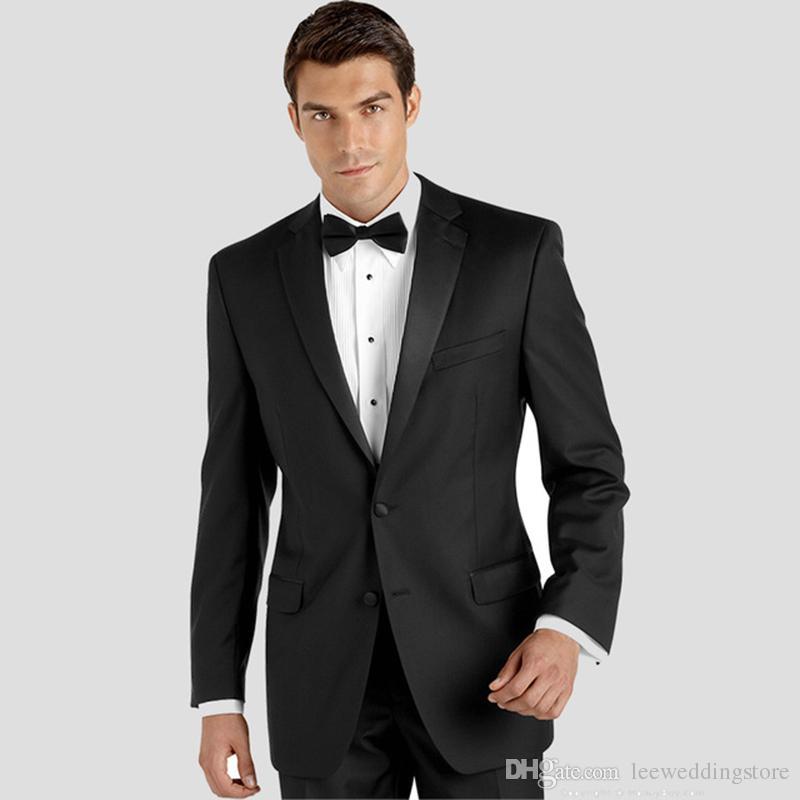 2018 رجال يرتدون بدلات سوداء لزفاف (لابيل) لرجل رشيق يرتدي بدلة رسمية رشيقة