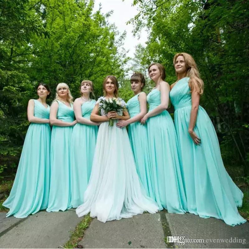 주름 쉬폰 나라 비치 들러리 드레스 2020 바닥 길이 웨딩 파티 드레스 Brautjungfernkleid 로브 드 모아 젤 디부 honneur